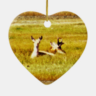 Antelope Pair Ceramic Heart Ornament