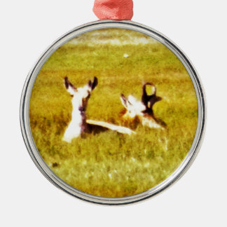 Antelope Pair Silver-Colored Round Ornament