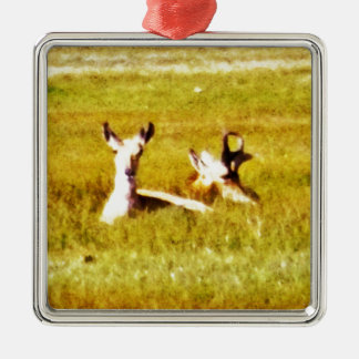 Antelope Pair Silver-Colored Square Ornament
