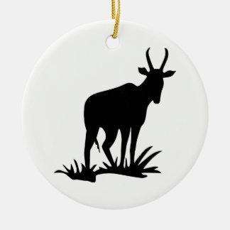 Antelope Silhouette Ceramic Ornament