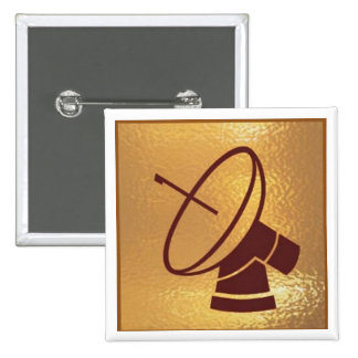 Antenna Dish Disc Robot Star - Medal Icon Gold Button