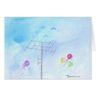 Antenna with Balloons and Birds Card