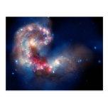 Antennae Galaxies Colourful Composite Postcard