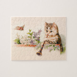 Anthropomorphic Cat Playing Horn - Vintage Art Puzzle