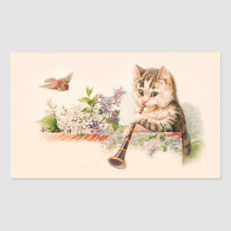 Anthropomorphic Cat Playing Horn - Vintage Art Sticker