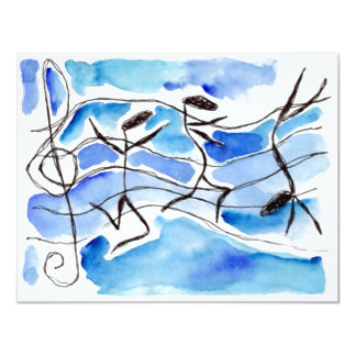 Anthropomorphic Musical Notes Blank Invitations