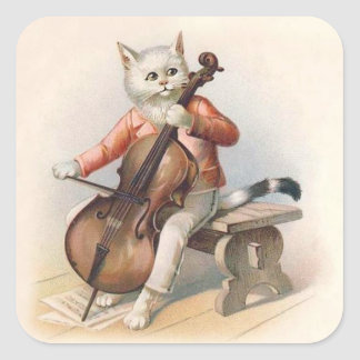 Anthropomorphic White Cat Playing Cello Square Sticker