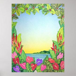 Anthurium Heart Sunset Poster