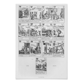 Anti-catholic playing cards commemorating poster