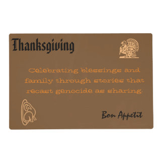 Anti-Colonial Thanksgiving Placemat with Safeside Laminated Place Mat