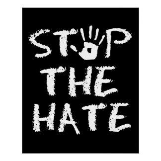 Anti Discrimination Racism and Hate Stop The Hate Poster