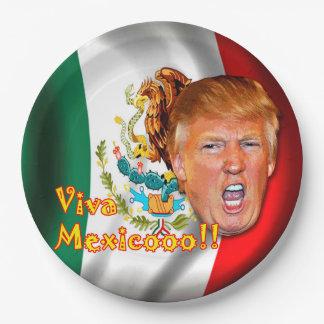 """Anti-Donald Trump """"Viva Mexico"""" paper plates. 9 Inch Paper Plate"""