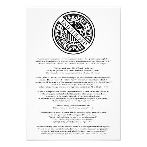 Anti Federal Reserve Logo with Famous Quotes 2 Custom Invitations