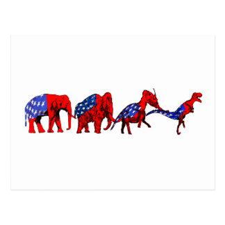 Anti-GOP Anti-Republican Evolution Satire Postcard