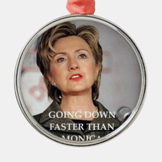 anti hillary clinton Silver-Colored round ornament