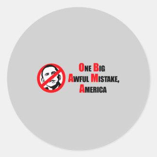Anti-Obama Bumpersticker - One big awful misake Am Classic Round Sticker