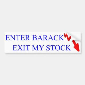 Anti Obama: Enter Barack Exit My Stock Bumper Sticker