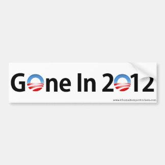 """Anti-Obama """"Gone In 2012"""" Bumper Sticker"""