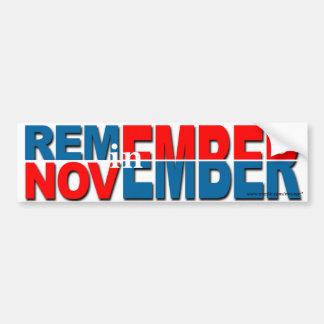 """anti Obama """"Remember in November"""" sticker"""