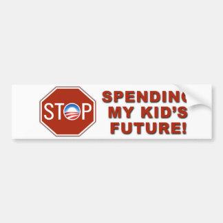"Anti-Obama ""Stop Spending Kid's Future"" Bumper Sticker"