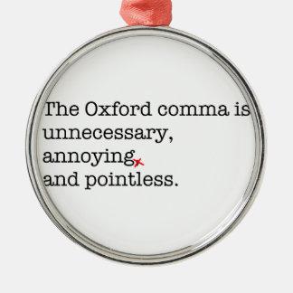 Anti-Oxford Comma Silver-Colored Round Ornament