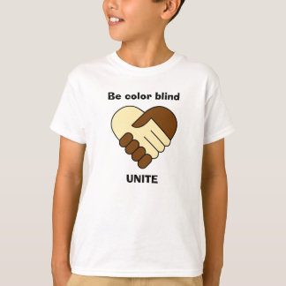 Anti racism theme hand shake kids shirt