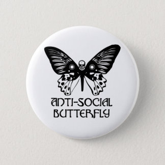 Anti-Social Butterfly 2 Inch Round Button