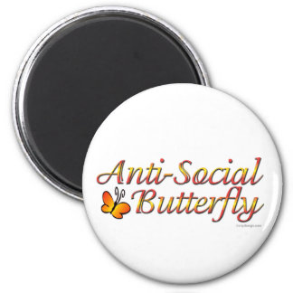 Anti-Social Butterfly 2 Inch Round Magnet