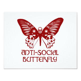"Anti-Social Butterfly 4.25"" X 5.5"" Invitation Card"