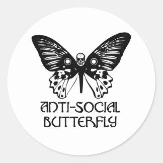 Anti-Social Butterfly Round Sticker