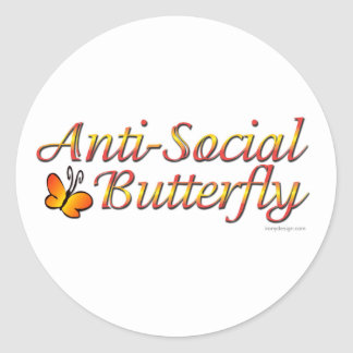 Anti-Social Butterfly Classic Round Sticker