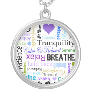 Anti-stress Relax & Breathe Typography necklace