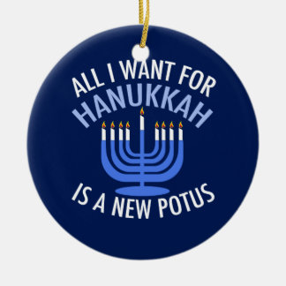Anti Trump Hanukkah Ceramic Ornament