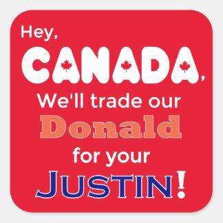 Anti Trump Trade Donald For Justin Sticker