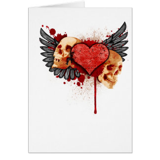 Anti-Valentine Skulls with Wings Greeting Card