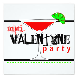 Anti-Valentines Day Party Cocktail Martini Card