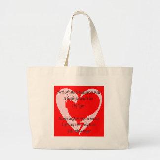 Anti-Valentine's Day Poem Large Tote Bag