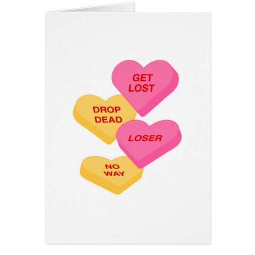 anti vday candy hearts greeting card