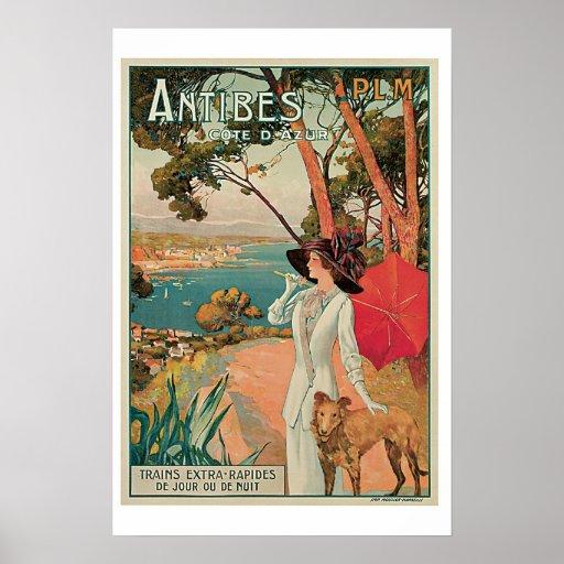 Antibes Cote D Azur Vintage Travel Poster