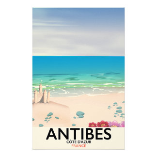 Antibes France Beach poster Stationery