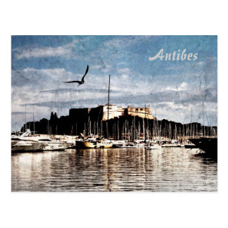 Antibes harbour postcard