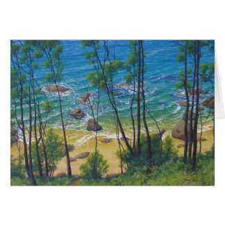 """Anticipation"" - Secluded Tropical Beach Painting Card"