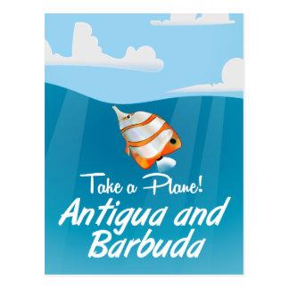 Antigua and Barbuda holiday travel poster cartoon. Postcard