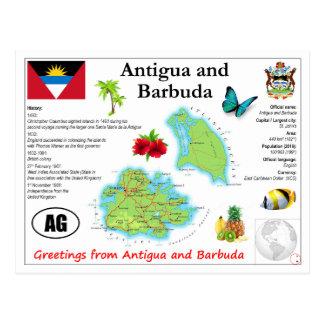 Antigua and Barbuda Map Postcard