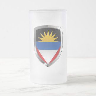 Antigua and Barbuda Mettalic Emblem Frosted Glass Beer Mug