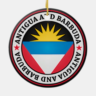 Antigua And Barbuda Round Emblem Ceramic Ornament