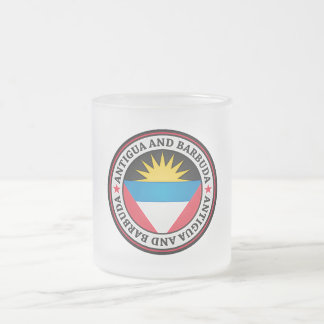 Antigua And Barbuda Round Emblem Frosted Glass Coffee Mug