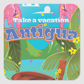 Antigua island vintage travel poster art. square sticker