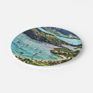 Antigua View Falmouth Harbor 7 Inch Paper Plate
