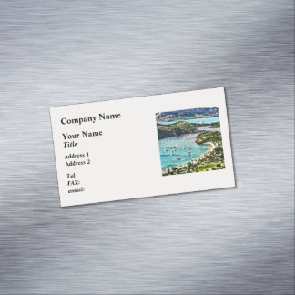 Antigua View Falmouth Harbor Magnetic Business Card